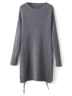 Longline Side Slit Sweater - Gray