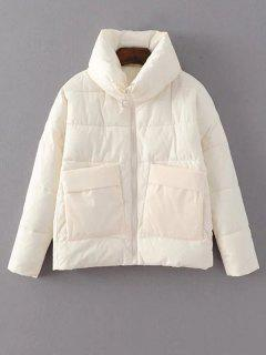 Stand Neck Puffer Jacket With Pocket - White M