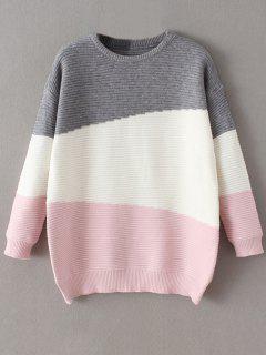 Suéter Cómodo Bloque Color Tamaño Extra Grande - Rosa