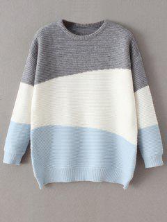Suéter Cómodo Bloque Color Tamaño Extra Grande - Azul