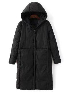 Manteau Rembourré à Capuchon Avec Poches - Noir M