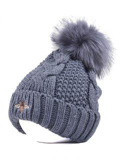 Pom Ball Flanging Bee Knitted Beanie - Gray
