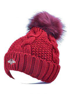 Pom Ball Flanging Bee Knitted Beanie - Wine Red