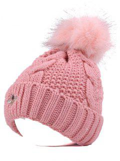 Pom Ball Flanging Bee Knitted Beanie - Pink