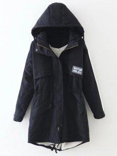 Drawstring Zip-Up Hooded Puffer Coat - Black S