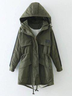 Drawstring Zip-Up Hooded Puffer Coat - Green S