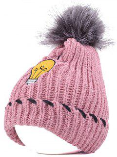 Pom Ball Flanging Knitted Hat - Pink