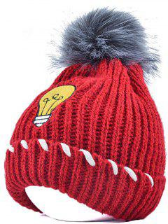 Pom Ball Flanging Knitted Hat - Bright Red