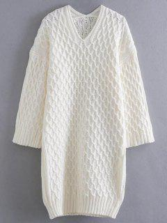 Kimono Sleeve Sweater Dress - White