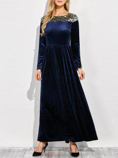 Sequined Velvet Long Swing Dress With Sleeves - Blue L