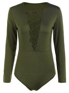 Cut Out Lace-Up Bodysuit - Army Green M