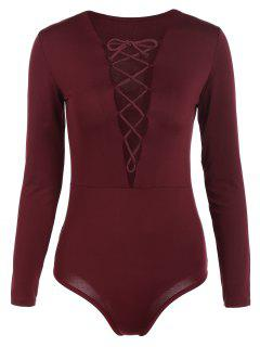 Cut Out Lace-Up Bodysuit - Wine Red Xl