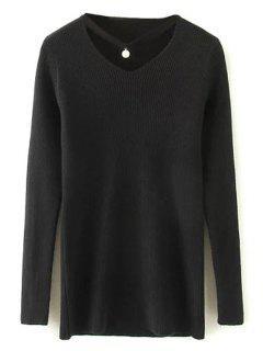 Choker Ribbed Sweater - Black