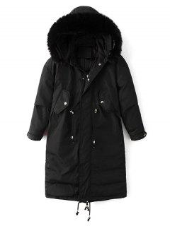 Fur Collar Drawstring Puffer Coat - Black M