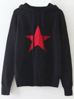 Hooded Star Graphic Sweater - Black