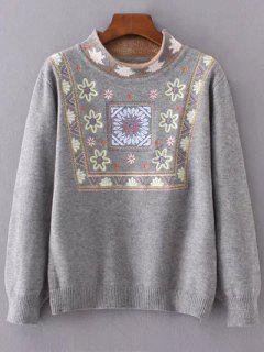 Suéter Cuello Alto Diseño Gráfico Floral - Gris