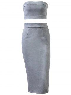 Suede Bodycon Rock Mit Tube Top - Grau S