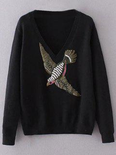 Suéter Águila Bordada Cuello En V  - Negro