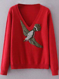 Embroidered V Neck Sweater - Red