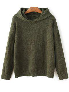 Long Sleeve Hoodie Sweater - Army Green