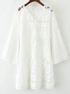 V Neck Bell Sleeve Lace Dress - White M
