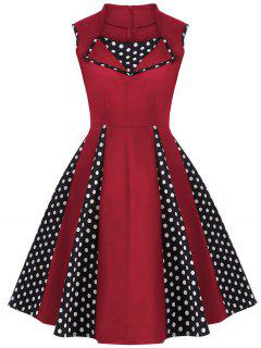 Vintage Sleeveless Polka Dot Dress - Red S