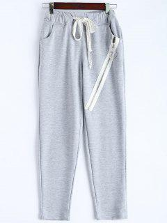 Zip Design Drawstring Sweatpants - Light Gray S