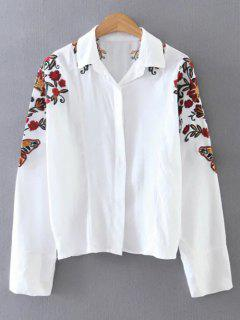 Chemise Courte à Col-chemisier Et Manches Brodées - Blanc M