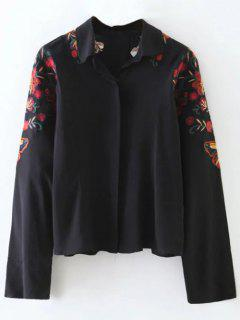 Cropped Flower Embroidered Shirt - Black S