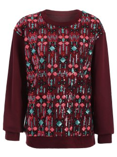 Embroidered Sequined Sweatshirt - Wine Red M