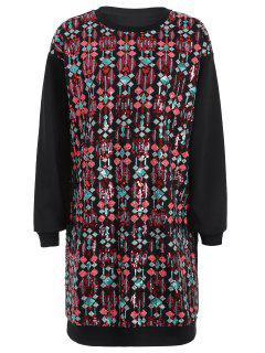 Embroidered Sequined Long Sleeve Dress - Black L