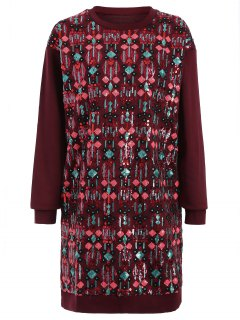 Embroidered Sequined Long Sleeve Dress - Wine Red M