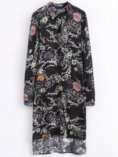 High Low Retro Floral Shirt Dress - Black M