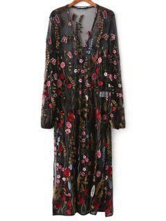 Robe à Col En V En Filet Extra-fin à Broderies Florales - Noir L