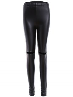 Distressed Faux Leather Leggings - Black Xl