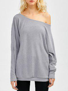 Asymmetric Neckline Batwing Sweater - Gray M