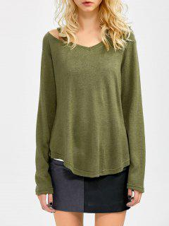 Cut Out Pullover Sweater - Army Green M
