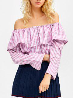 Gingham Check Off The Shoulder Blouse - Pink S