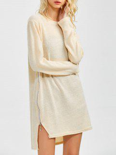 Side Zipper Sweater Dress - Beige M