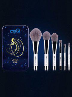 Conjunto 6 Pinceles Virgo Maquillaje Magnético Caja Hierro - Azul