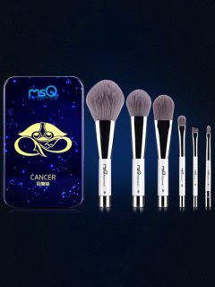Conjunto 6 Pinceles Cáncer Maquillaje Magnético Caja Hierro - Azul