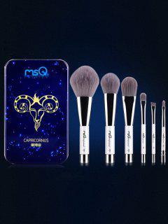 Conjunto 6 Pinceles Capricornio Maquillaje Magnético Caja Hierro - Azul