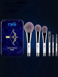 Ensemble De 6 Pinceaux De Maquillage Avec Boîte En Fer Sagittaire - Bleu