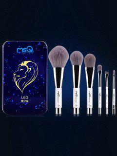 Conjunto 6 Pinceles Leo 6 Maquillaje Magnético Caja Hierro - Azul