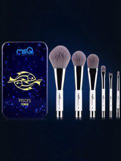 Ensemble De 6 Pinceaux De Maquillage Avec Boîte En Fer Poissons - Bleu