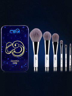Ensemble De 6 Pinceaux De Maquillage Avec Boîte En Fer Imprimée