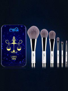 Conjunto 6 Pinceles Libra Maquillaje Magnético Caja Hierro - Azul