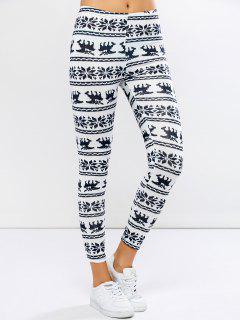 Christmas Elk Graphic Leggings - White Xl