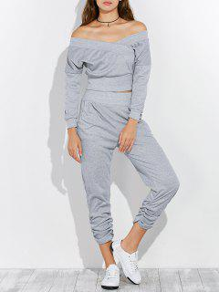 Off The Shoulder T-Shirt And Pants - Gray Xl