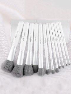 12 Piezas De Fibra De Cepillos Del Maquillaje Del Kit - Blanco